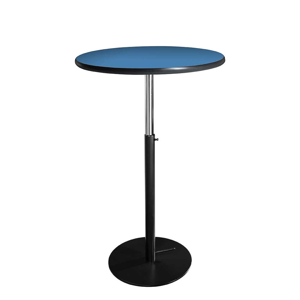 Classic bar table for rent with azure blue top and black hydraulic base