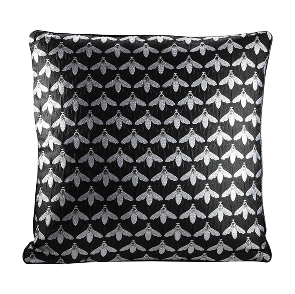Black and silver throw pillow with bee design for rent
