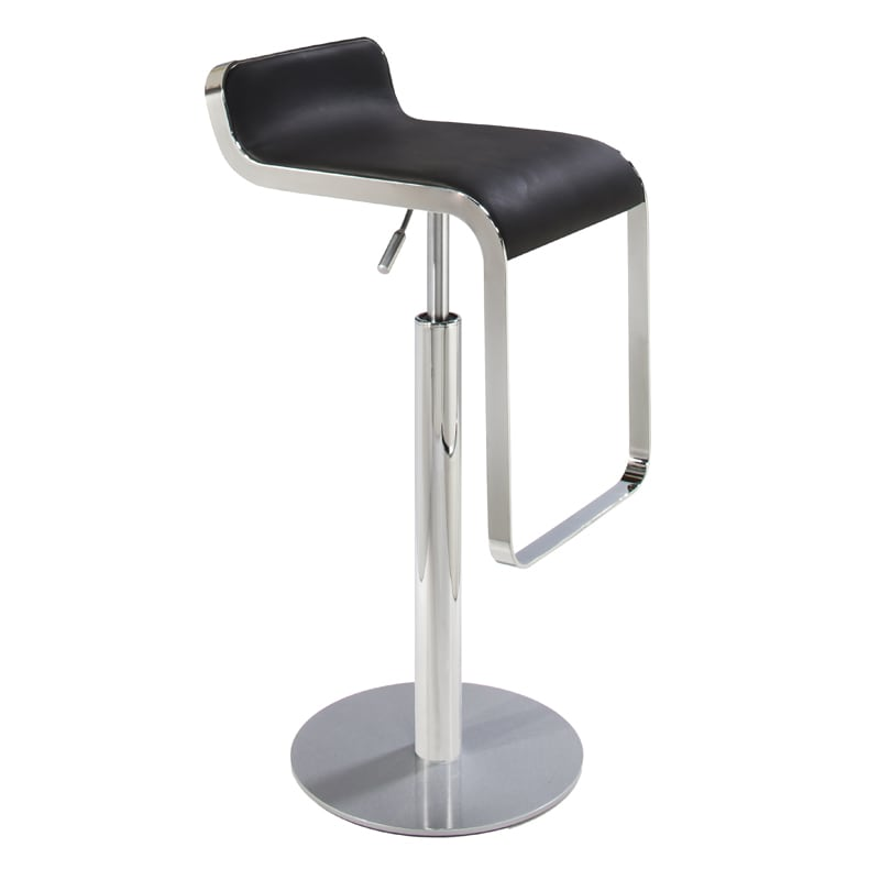 Classic black swivel barstool with chrome hydraulic base for rent