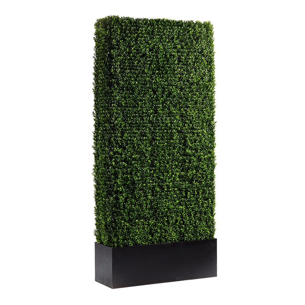 Faux green seven foot hedge with black base for rent
