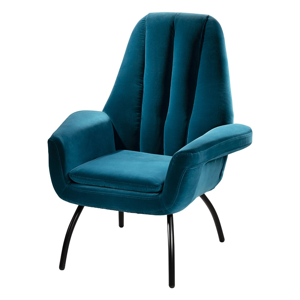 Art deco high back teal accent chair for rent