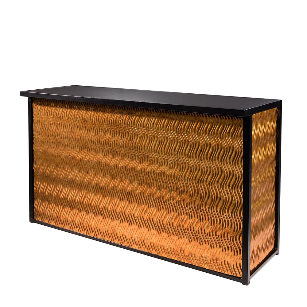 Classic black framed bar with rose gold wave front and sides for rent