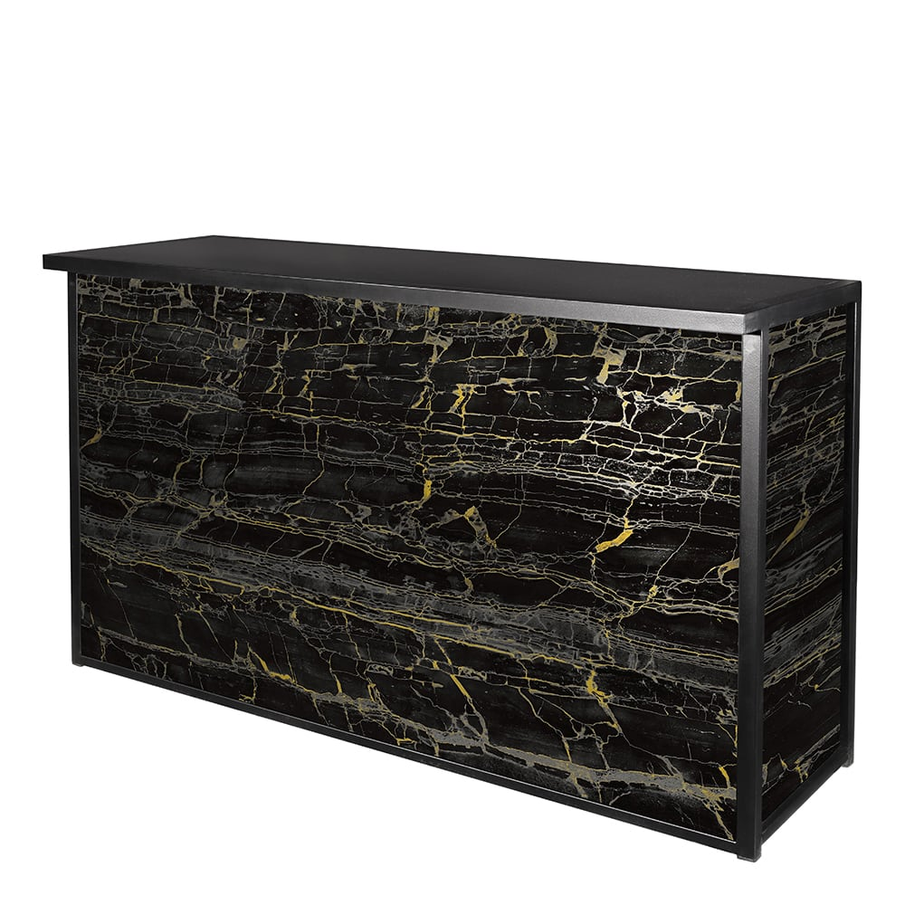 Classic black framed bar with black and gold marble front and sides for rent