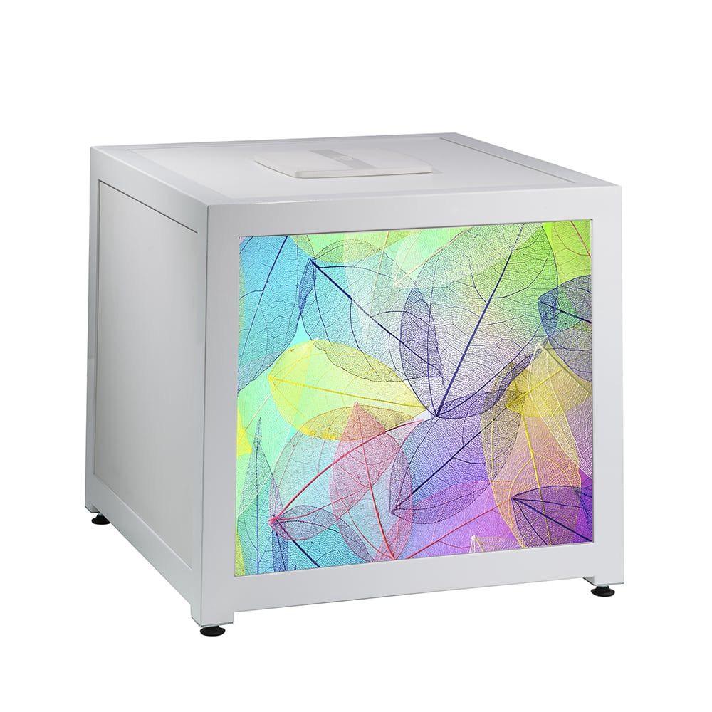 White charging cube with colorful custom graphic for rent