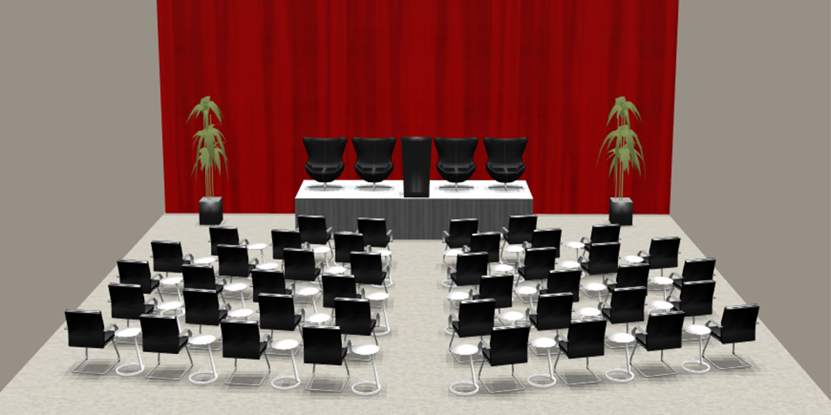 3d rendering of meeting with black chairs, stage and red drape
